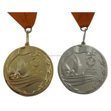 manufacture custom coin metal silver gold medallion with ribbon