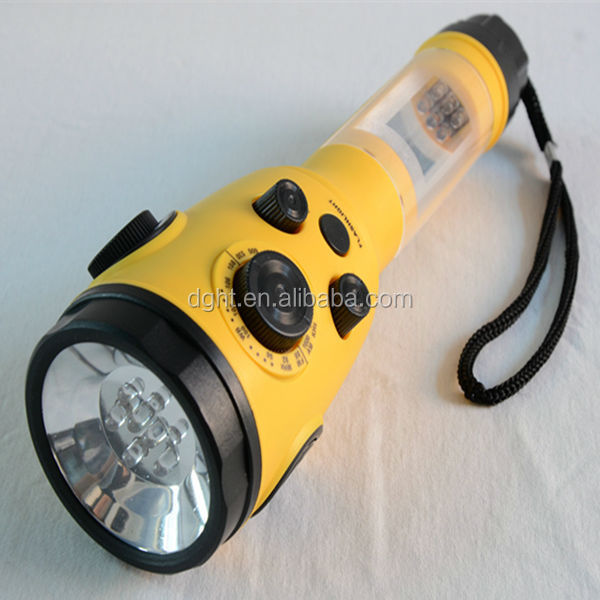 Hand Crank Dynamo Wind-up LED Torch Survival Flashlight with Radio AM FM