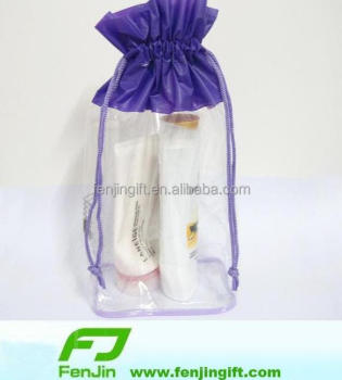custom transparent clear vinyl drawstring bag