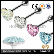 Gem Heart Flat Paved Crystal Tongue Ring unique tongue rings