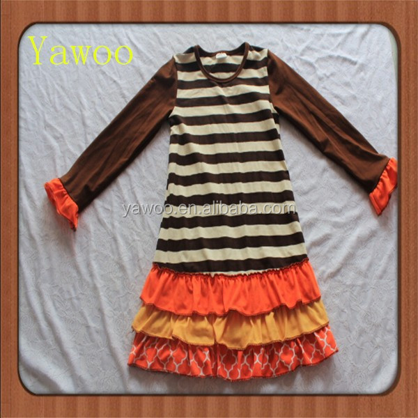 2015children baby dress for 2 year old girls wholesale fall boutique stripes halloween orange and yellow ruffle dresses