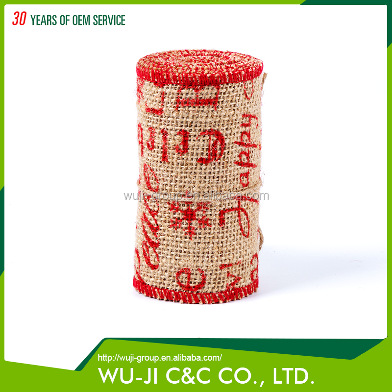 Eco-friendly 100% jute gift wrapping ribbon roll