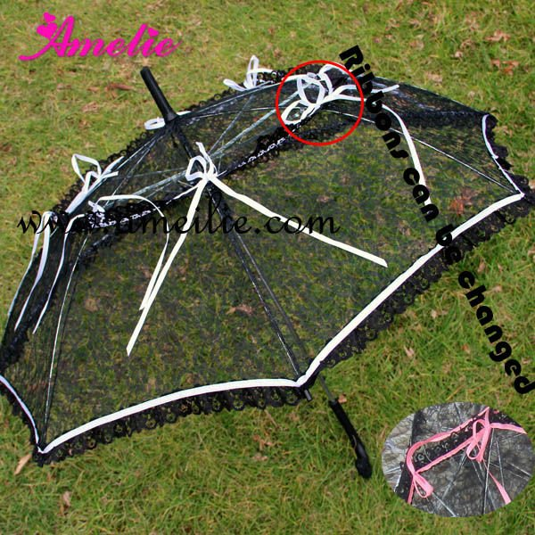 Ribbons Bows attached lace flower umbrella