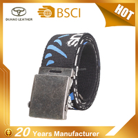 Hot wholesale custom man canvas printed desinger belt with belt factory price