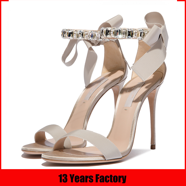 2016 new arrival italian nude rip tape and samdin upper bowknot stone Acryl diamond dance sexy lesbian high heel sandal