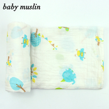 New Design 100% Orgainc Cotton Muslin Fabric Baby Swaddle Blanket (1 pc packaging)