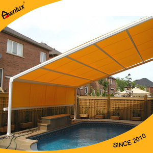 Swimming pool remote control customized acr-shape roof awning