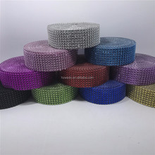 10Yards 8Rows DIAMOND MESH WRAP ROLL SPARKLE RHINESTONE Crystal Ribbon Wedding Party Cake Decoration