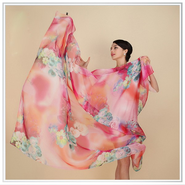 New Fashion Digital Printing Thai Silk Scarves for Crafts