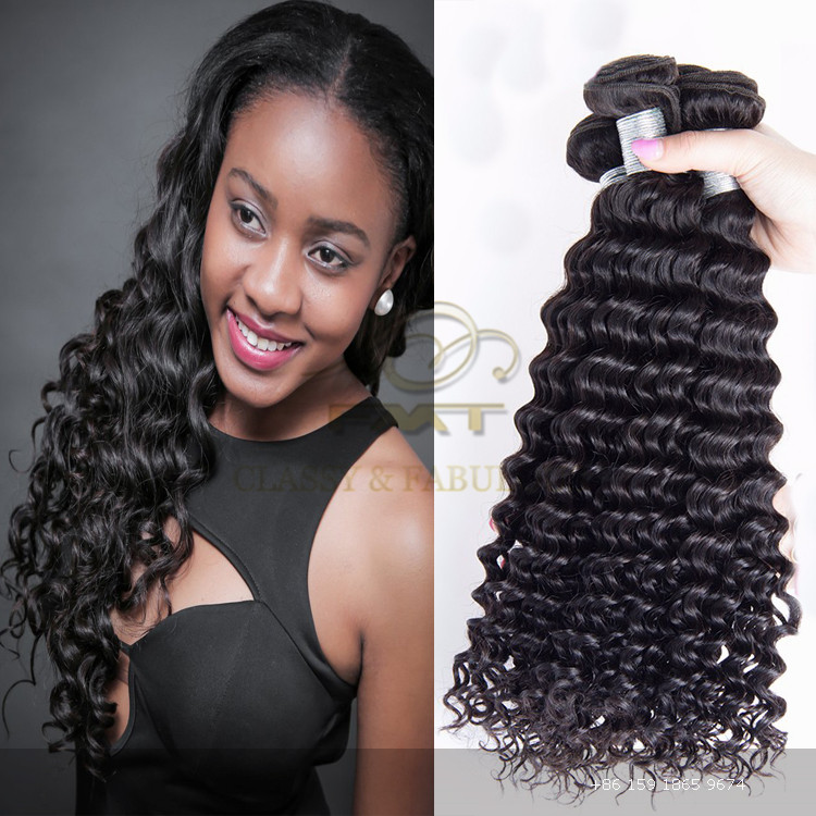 2016 hot sell brazilian Unprocessed natural deep wave human hair