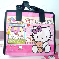 eco friendly hello kitty print children's non woven book carry school bag for kids