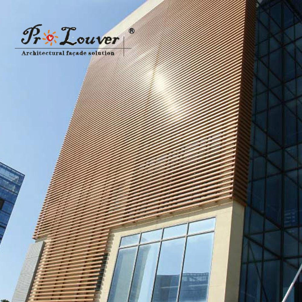 Glass Louver Facade : Wooden color box sun louver buy aluminum vertical