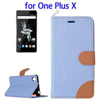 Denim Texture Horizontal Flip Leather Case for OnePlus X Flip Cover