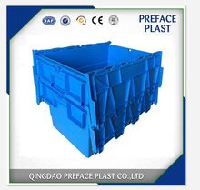 Moving logistics new style large plastic tote box with hinged lids