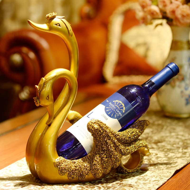 wholesale polyresin luxury home decorative swan single wine holder