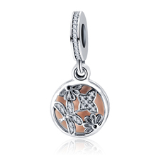 The Newest Soft Pink Enamel Springtime Charm Pendant 925 Sterling Silver Butterfly Flower Dangle DIY Jewelry accessories