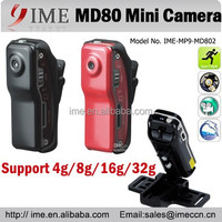 New Model Mini Hidden camera MD80 with full body Metal Red/Black Bracket+Clip+Cable+Package MD80
