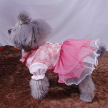 The new spring and summer dog skirts cute princess dog skirt pink yarn dog skirts