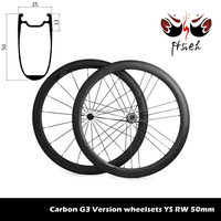 Factory outlet sale 700C 50mm carbon clincher wheelsets G3 Version, Powerway R36 Hubs straight Pull wheels on sale
