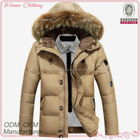 fashionable new design down feather solid color latest coats design for men with hood