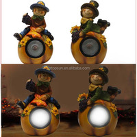 resin scarecrow couple figurine solar light for thanksgiving decoration