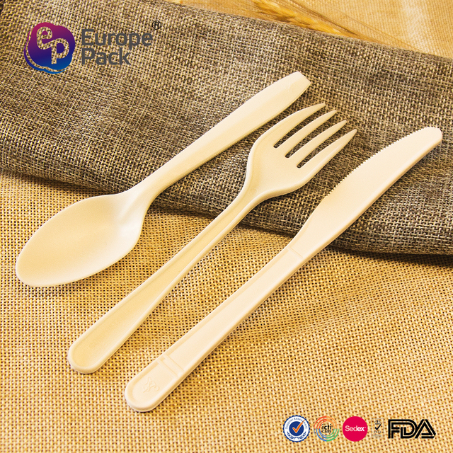 Factory wholesale FDA plastic biodegradable fork and knife set with nature material
