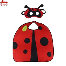 SPECIAL L 27* Ladybug Cape Mask Costume for Child Animal Cloak Carnival Costume