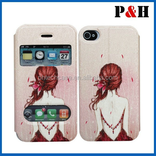 color printing leather case for iphone 5 with Manufacture Christmas promotion phone case