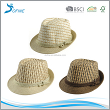 Wholesale custom cheap hand weaving assorted color paper straw panama hat