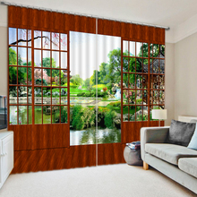 Turkish Landscape Design Wholesale Polyester Fabric 3D Printed Blackout Blind Window Curtain