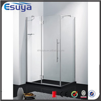 Shanghai Esuya golden supplier stainless steel handle 8mm tempered glass hinge open shower panel, simple shower three sides