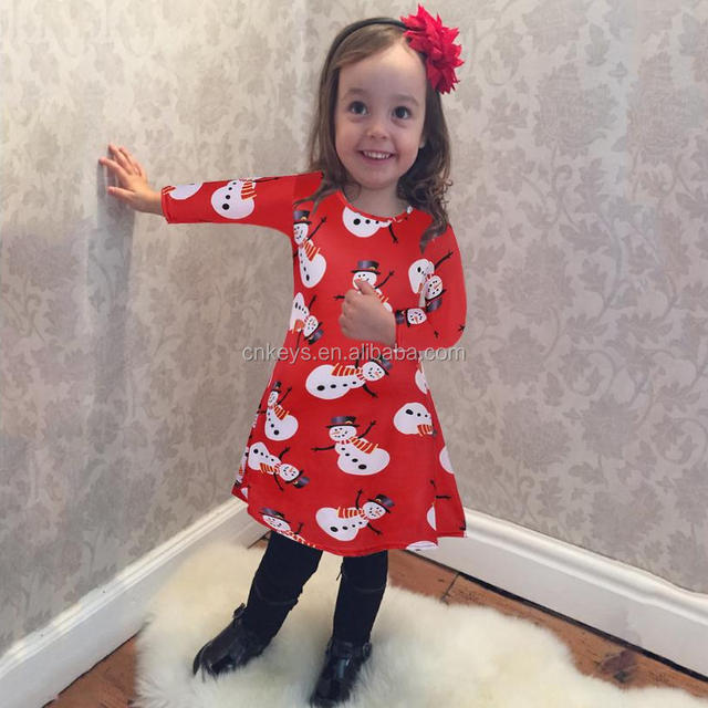K3292A Hot Sale Baby Girls Boutique Christmas Dress Clothes Kids Long Sleeve Holiday Ruffle Dresses