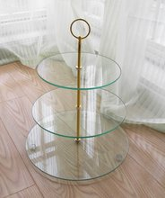 hot-selling 3-layer tiered tempered glass cake stand