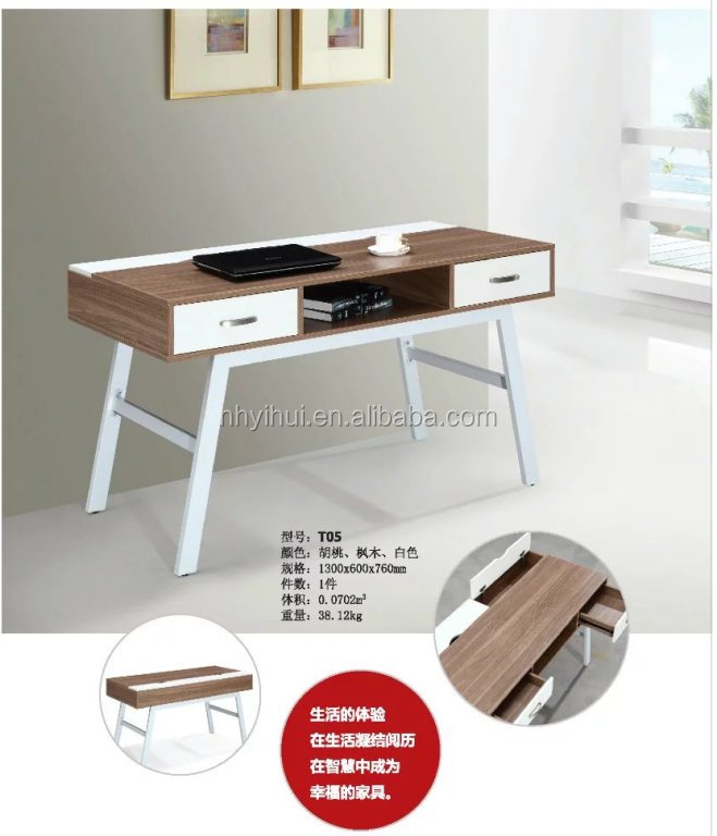 Office furniture modern steel frame wood desk T05