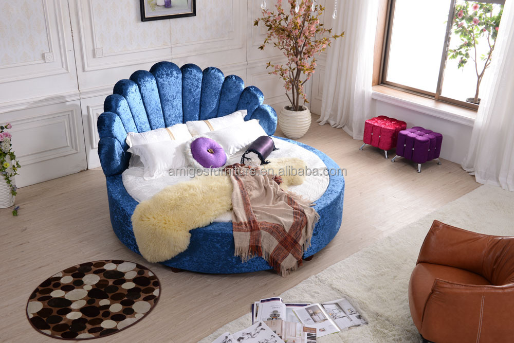 2015 Guangzhou fair twin bed velvet soft round bed
