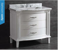 White Marble Undermount Single Sink Poplar Bathroom Vanity with Natural Marble Top SA-4809