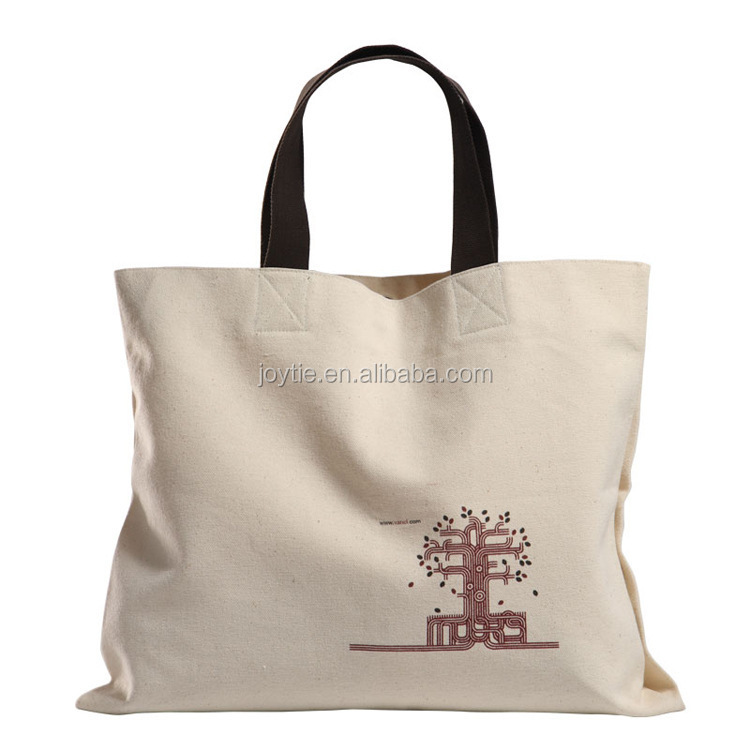 customize service solid color logo printing Canvas tote shopping bag leather handle