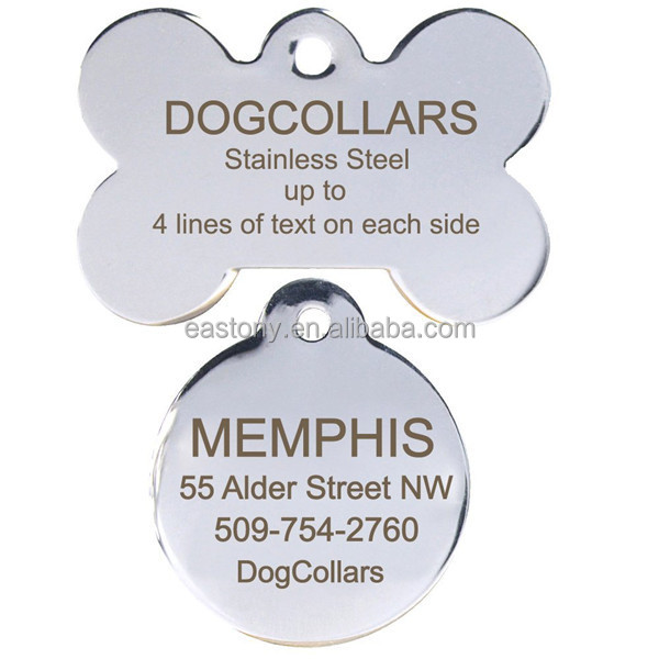 Blank Stainless Steel Pet ID Tags/Charms Wholesale For Small Animals Cats Dogs With QR Code