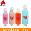 Made in China 350 400 420 600 ml capacity HB glass water bottle with colorful silicone case cover sleeve supplier