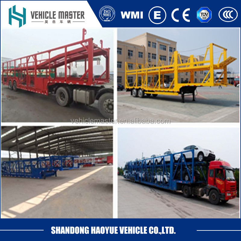 8 cars transporting tri axle double decks car carrier truck trailer