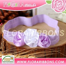 Top sale colorful mesh bow baby elastic flower crown headband