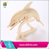 Educational Diy Toys 3d Wooden Puzzle Dolphin Puzzle Set