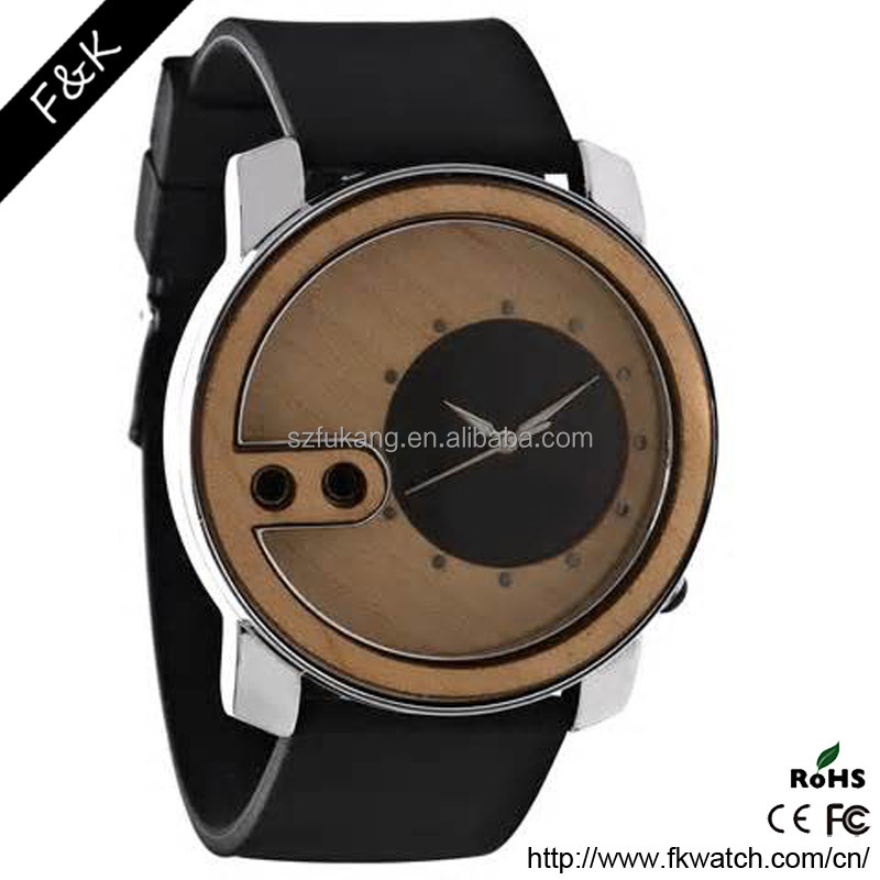 Genuine leather strap cheap price eco-friendly fashion wooden watch