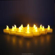 White Base 3.6*3.6 cm Yellow LED Thanksgiving Gift Candles
