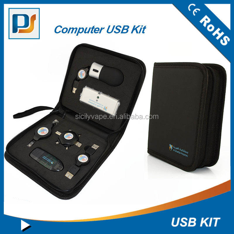 Hot selling usb travel charging set in black/computer usb kit for travel PS PA 42