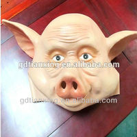 Funny nature rubber latex full head mask halloween pig mask for adult