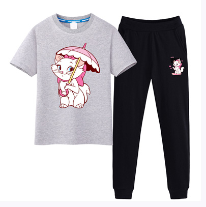 Kids sport clothing natural color cotton suits t-shirt and pants