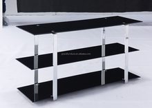 Modern Black Tempered Glass and Stainless Steel Legs TV Stand