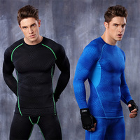 2016 stock new custom compression fitness lycra gym wear men long sleeve football jersey MA19