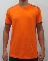 Hot selling bamboo customized t-shirt v-nk w/ctr binding & patch